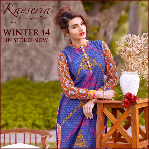 Latest Kayseria Winter Prints Best Shawls & Dresses Cambric Collection 2014-2015 (11)