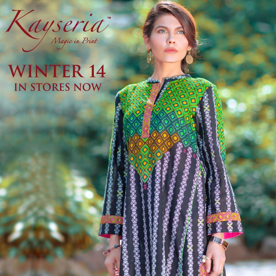 Latest Kayseria Winter Prints Best Shawls & Dresses Cambric Collection 2014-2015 (13)