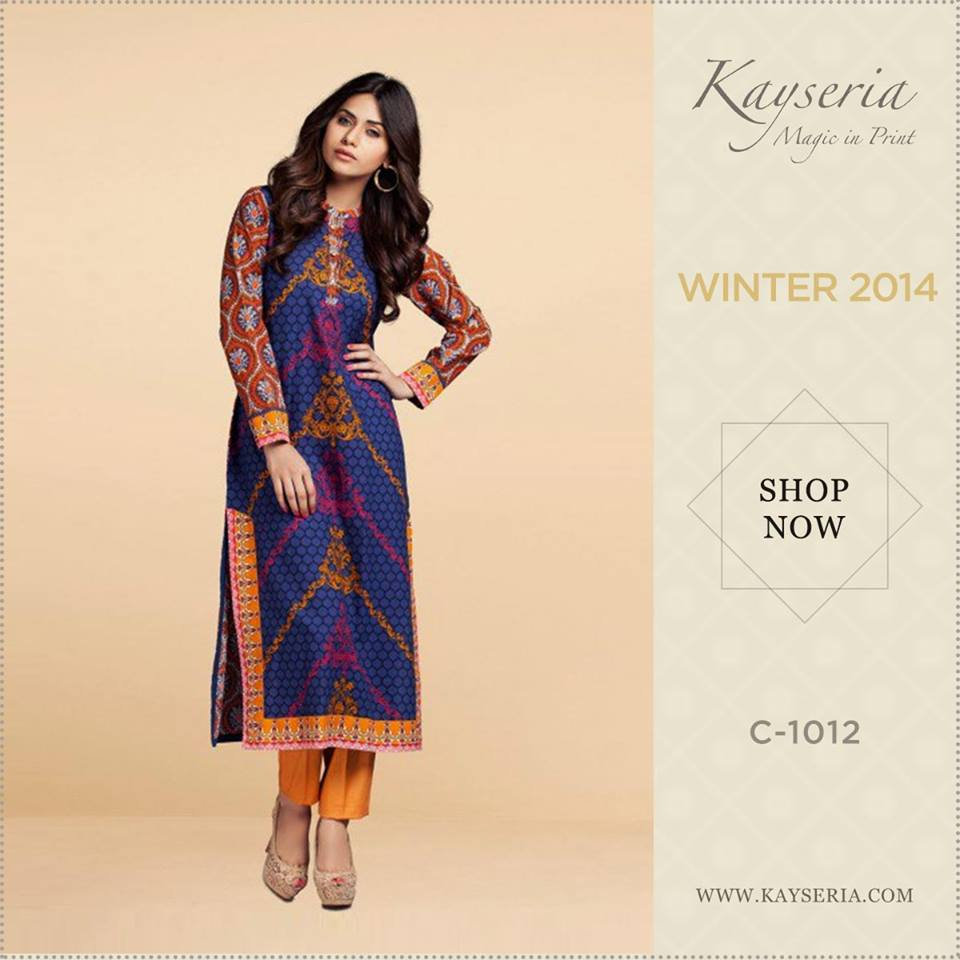 Latest Kayseria Winter Prints Best Shawls & Dresses Cambric Collection 2014-2015 (14)
