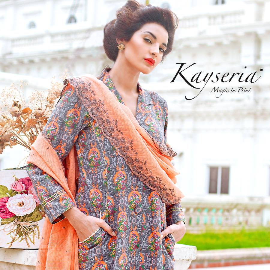 Latest Kayseria Winter Prints Best Shawls & Dresses Cambric Collection 2014-2015 (15)
