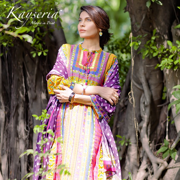 Latest Kayseria Winter Prints Best Shawls & Dresses Cambric Collection 2014-2015 (2)
