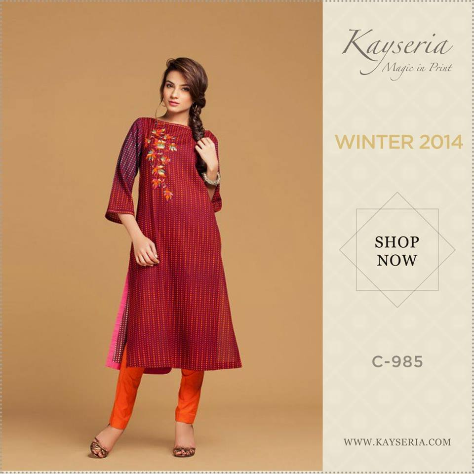 Latest Kayseria Winter Prints Best Shawls & Dresses Cambric Collection 2014-2015 (4)