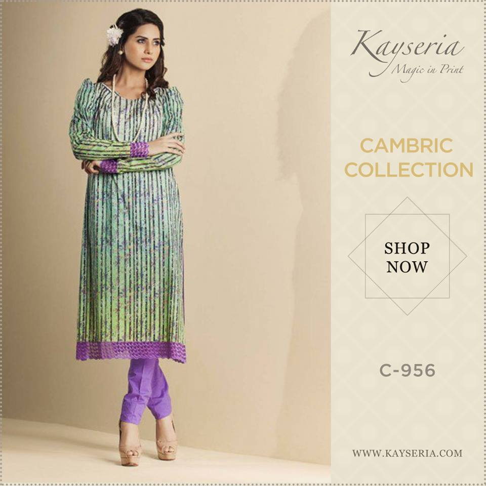 Latest Kayseria Winter Prints Best Shawls & Dresses Cambric Collection 2014-2015 (6)