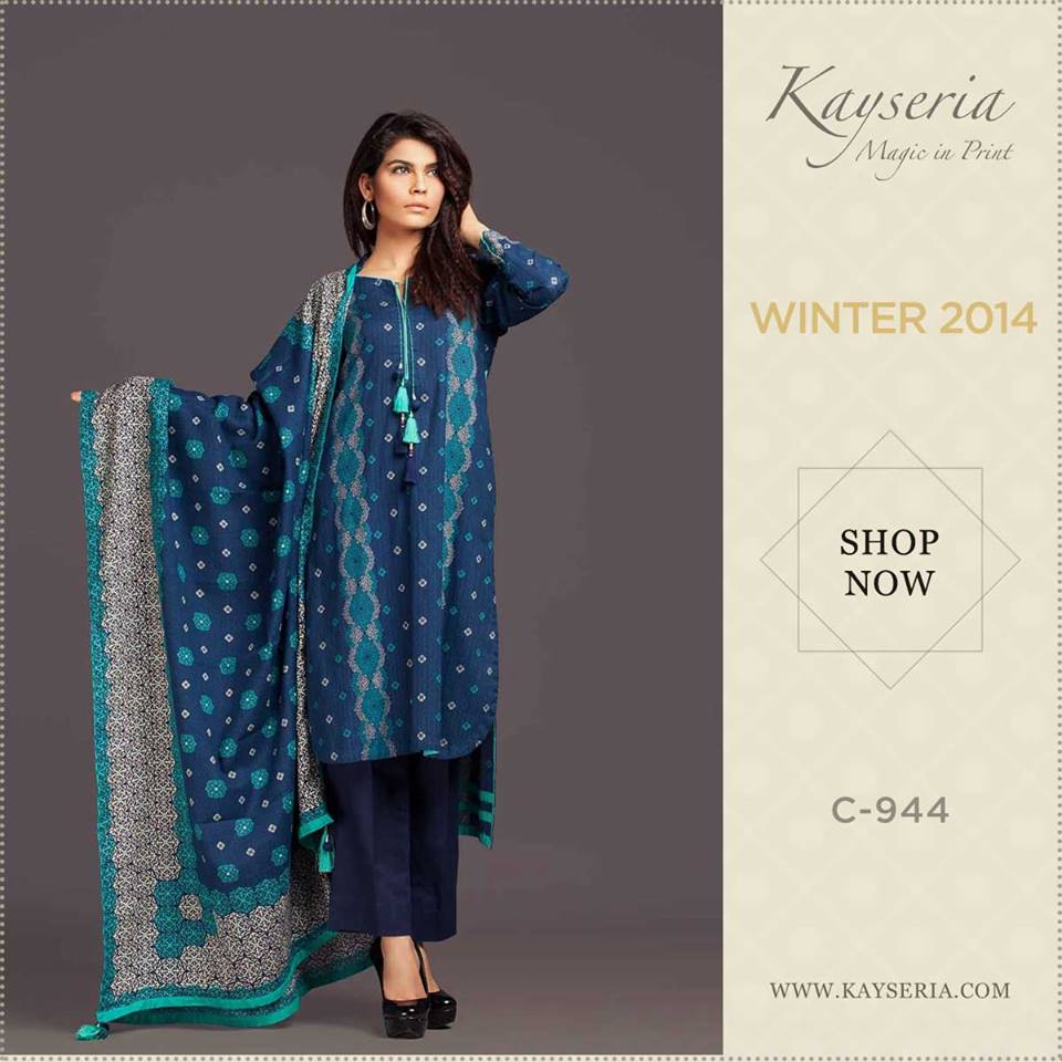 Latest Kayseria Winter Prints Best Shawls & Dresses Cambric Collection 2014-2015 (7)