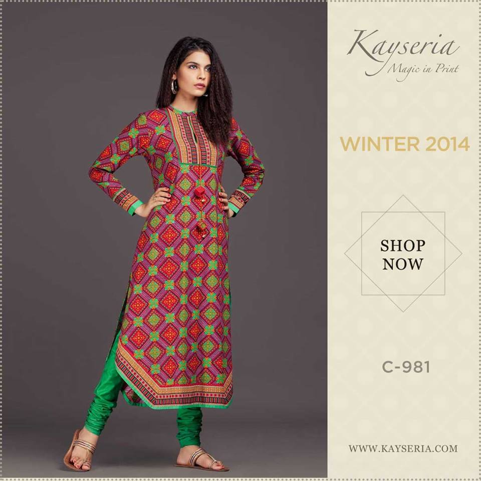 Latest Kayseria Winter Prints Best Shawls & Dresses Cambric Collection 2014-2015 (9)