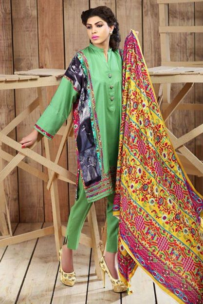 Hadiqa Kiani Winter Collection Linen & Karandi Dresses with Shawls for Women 2014-2015 (1)