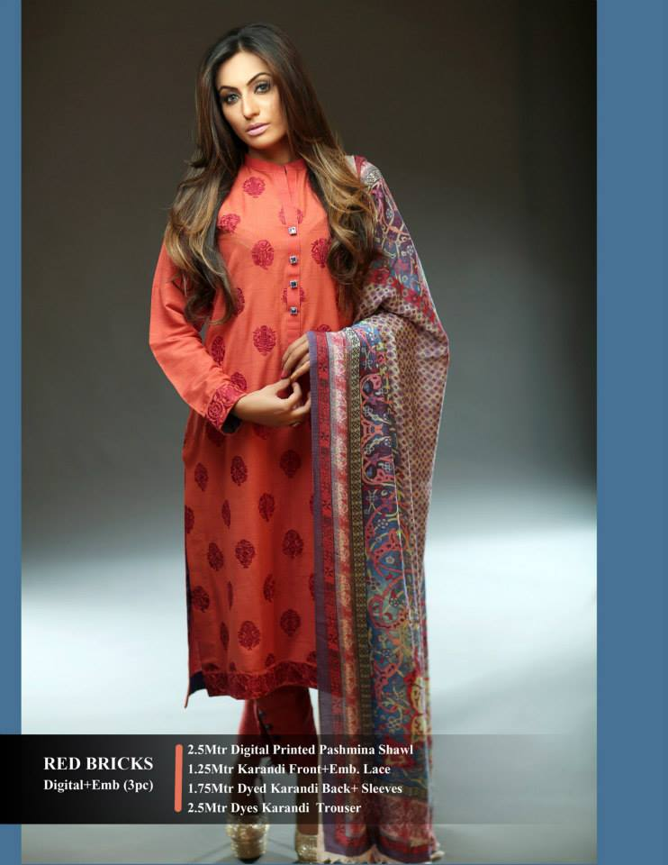 Hadiqa Kiani Winter Collection Linen & Karandi Dresses with Shawls for Women 2014-2015 (10)