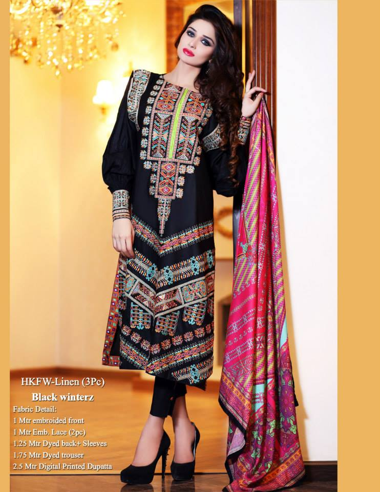 Hadiqa Kiani Winter Collection Linen & Karandi Dresses with Shawls for Women 2014-2015 (12)