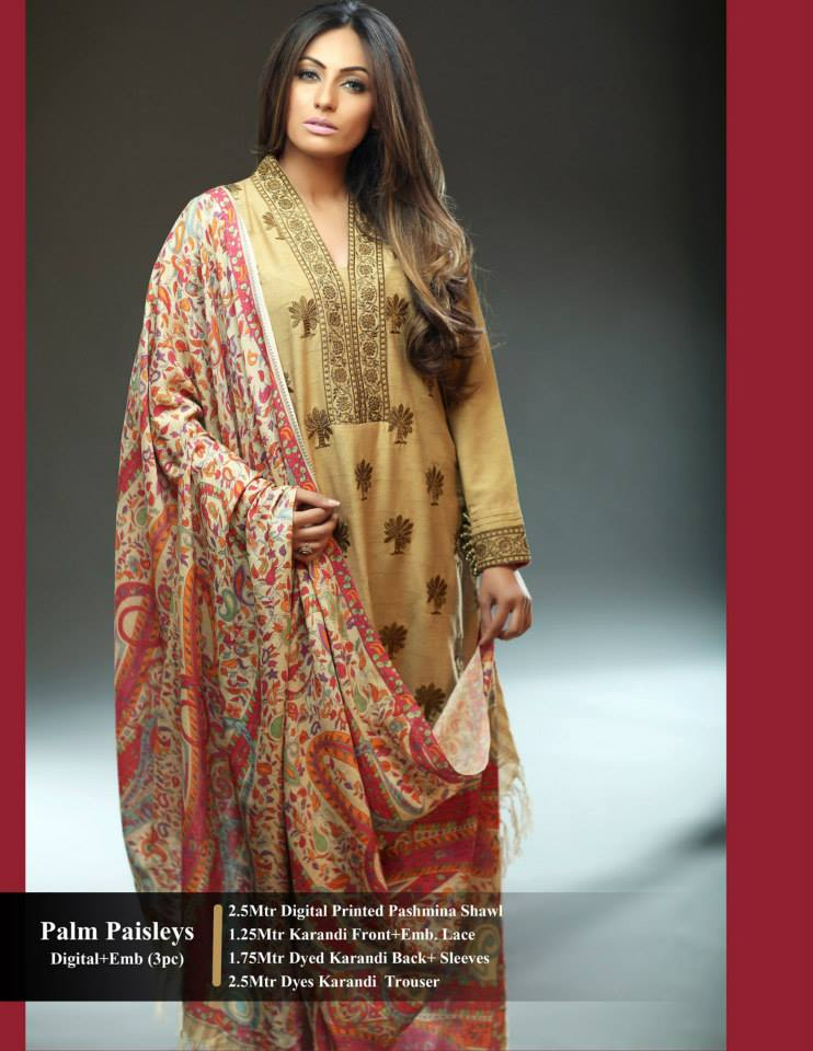 Hadiqa Kiani Winter Collection Linen & Karandi Dresses with Shawls for Women 2014-2015 (21)