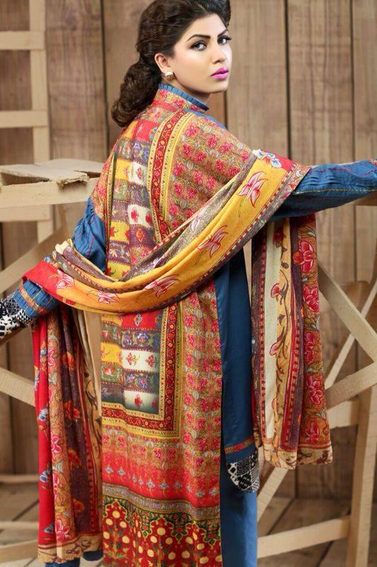 Hadiqa Kiani Winter Collection Linen & Karandi Dresses with Shawls for Women 2014-2015 (23)