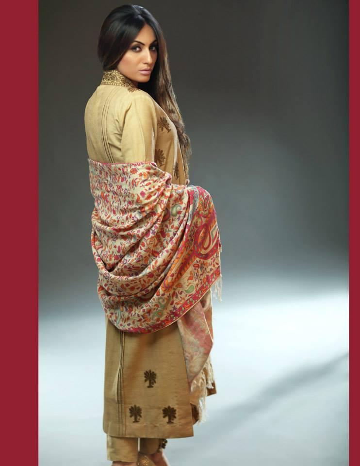 Hadiqa Kiani Winter Collection Linen & Karandi Dresses with Shawls for Women 2014-2015 (5)