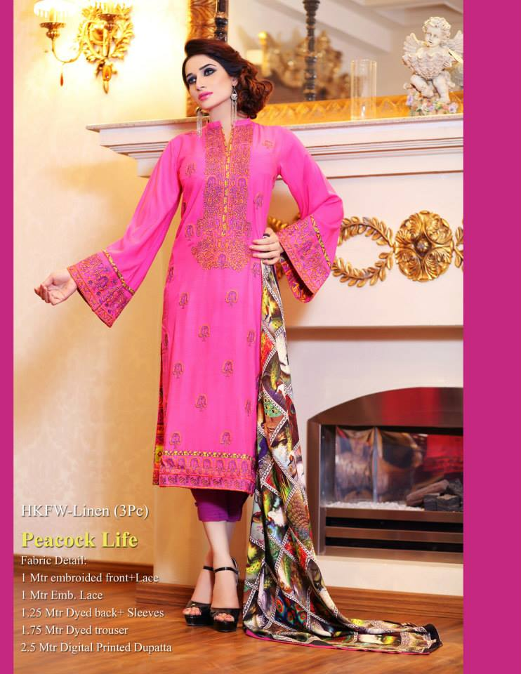 Hadiqa Kiani Winter Collection Linen & Karandi Dresses with Shawls for Women 2014-2015 (7)