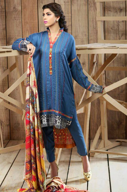 Hadiqa Kiani Winter Collection Linen & Karandi Dresses with Shawls for Women 2014-2015 (8)