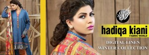Hadiqa Kiani Winter Collection Linen & Karandi Dresses with Shawls for Women 2014-2015