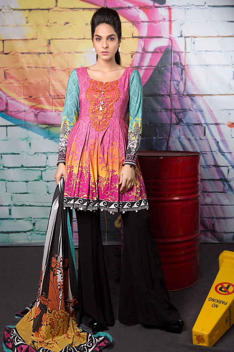 Latest Winter Fall Collection For Women By Bareeze: Latest Maria B Winter Printed Dresses Collection 2017-2018