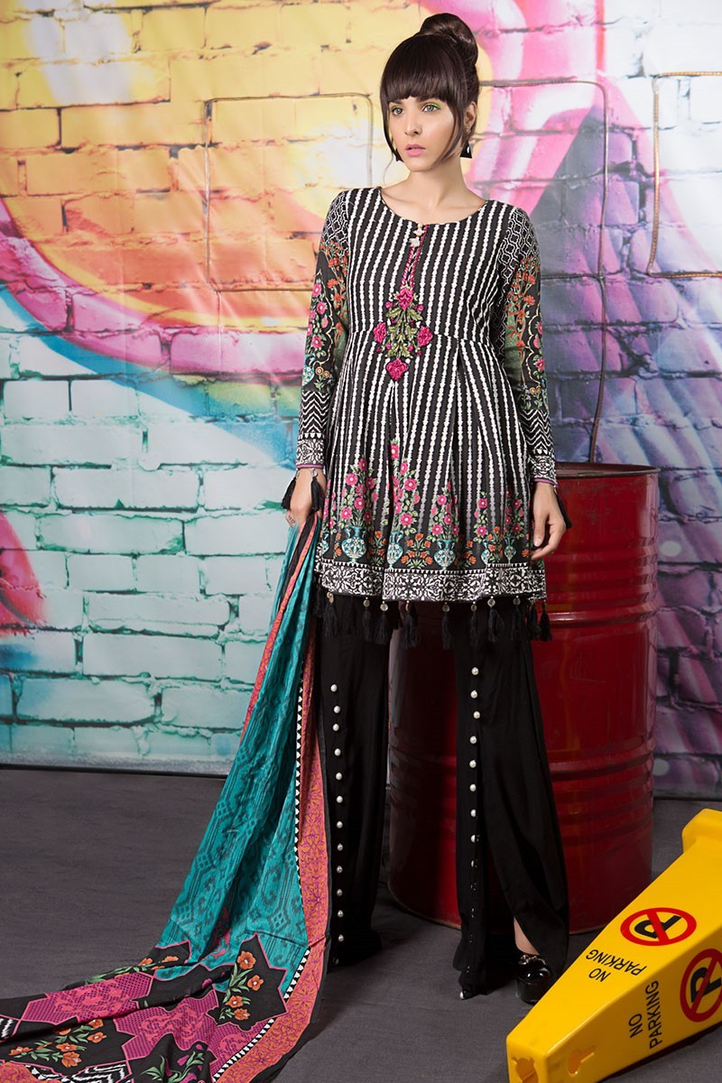 Latest Maria B Winter Printed Dresses Collection 2017-2018