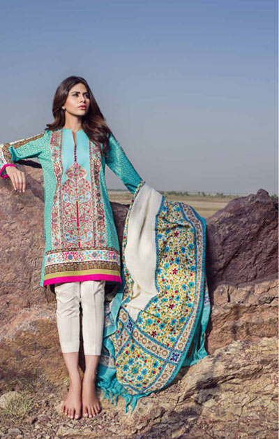 Sana Safinaz Latest Designer Winter Shawl Dresses Collection 2014-2015 for Women (7)