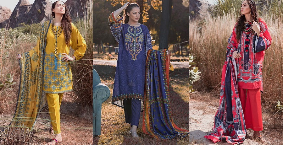 Woolen Silk SUITS- WARDA Latest Women Designer Winter Dresses 2018-2019