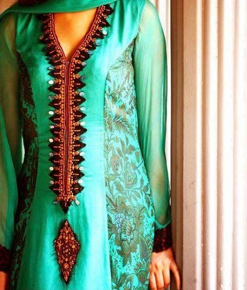 Fancy and Embroidered Neck Gala Designs for Party Wear Formal Shirts (3)