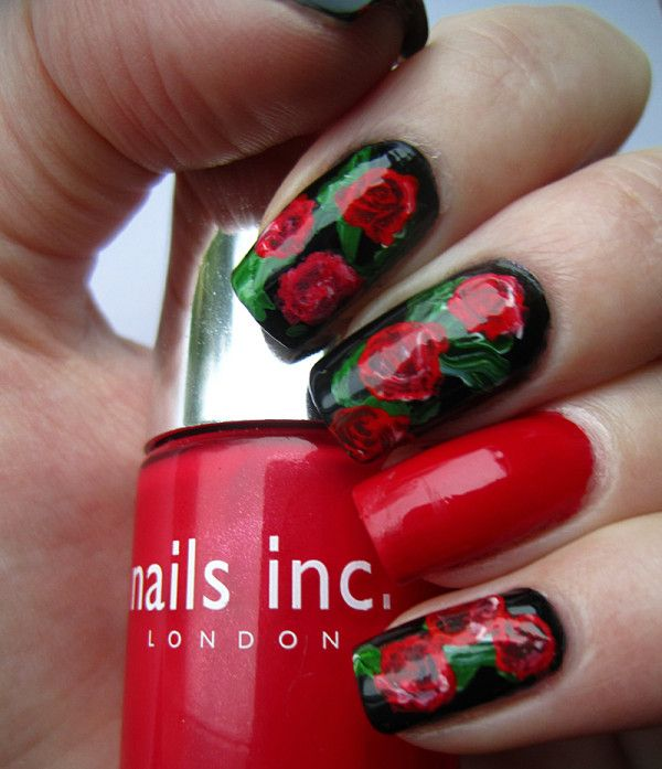 Floral Nail Arts Best and Romantic nail art designs for valentines day (1)