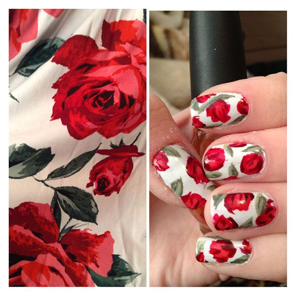 Floral Nail Arts Best and Romantic nail art designs for valentines day (3)