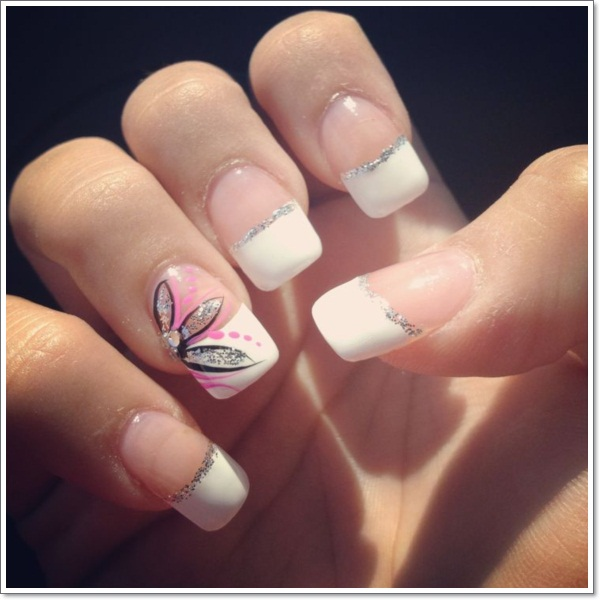 French Tip nail arts- Best & Romantic Nail Art Designs & Ideas for Valentines Day (1)