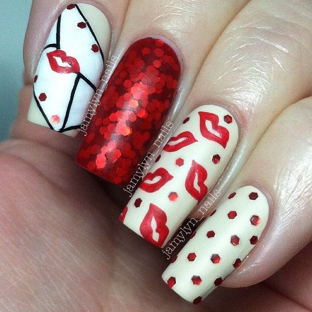 French Tip nail arts- Best & Romantic Nail Art Designs & Ideas for Valentines Day (3)