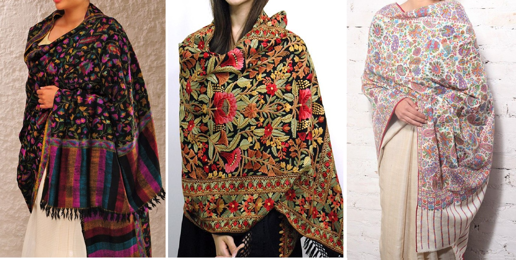 Kashmiri Hand Embroidered Shawls Designs Collection for Women (24)
