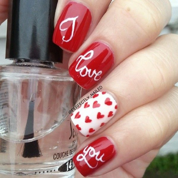 LOVE ON THE LINE XOXO, Huggs & Kisses nail arts for valetines day(3)