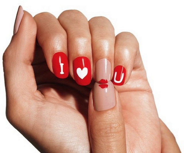 LOVE ON THE LINE XOXO, Huggs & Kisses nail arts for valetines day(4)