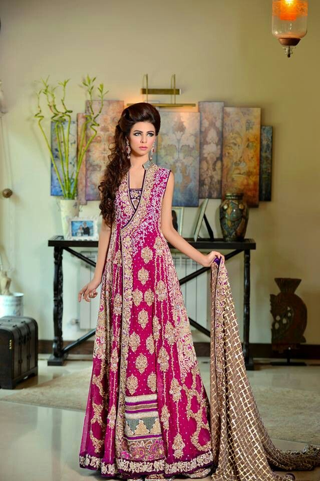 Latest Angrakha Wedding Wear Embroidered Gowns for Bridals (2)