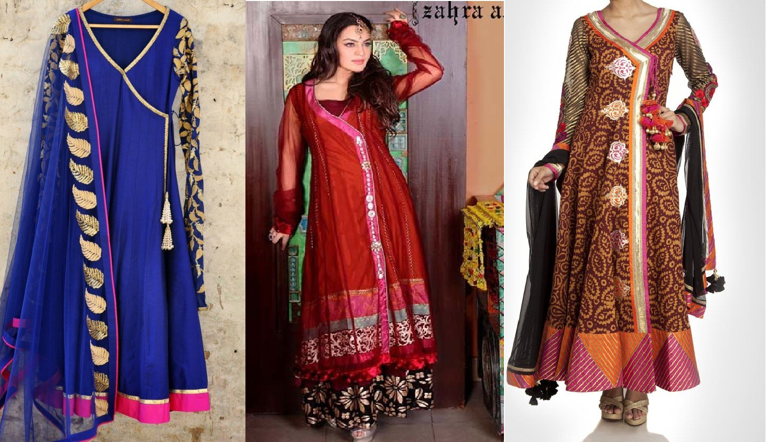 Mehndi Dress Designs 2016 New Style : Latest angrakha style dresses designs 2016 2017 collection for women