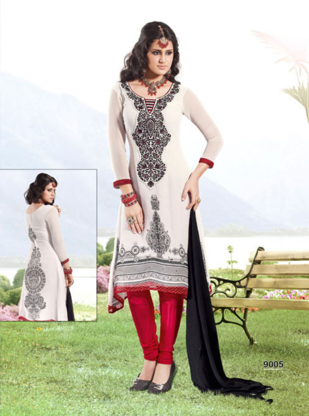 Stylish Plaine & V Shaped with Bann Neck Designs for Casual Kurta Dresses (12)