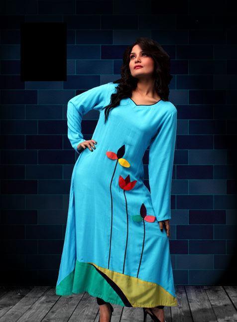 Stylish Plaine & V Shaped with Bann Neck Designs for Casual Kurta Dresses (14)