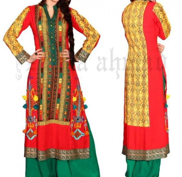 Stylish Plaine & V Shaped with Bann Neck Designs for Casual Kurta Dresses (5)