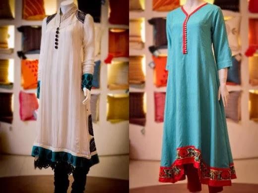 Stylish Plaine & V Shaped with Bann Neck Designs for Casual Kurta Dresses (6)