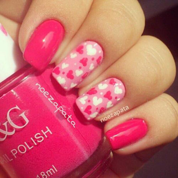 Sweet candy hearts Best & Romantic Nail Art Designs & Ideas for Valentines Day (4)