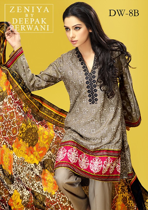Zeniya by Deepak Perwani Winter Shawl Dresses for Women Collection 2014-15 (10)