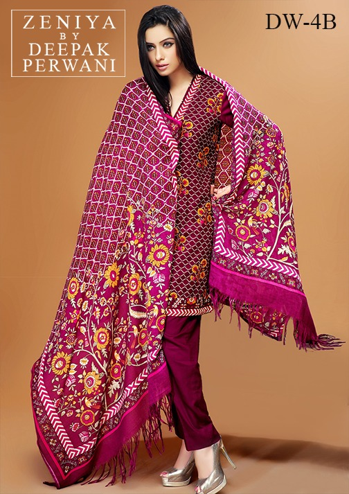 Zeniya by Deepak Perwani Winter Shawl Dresses for Women Collection 2014-15 (1)