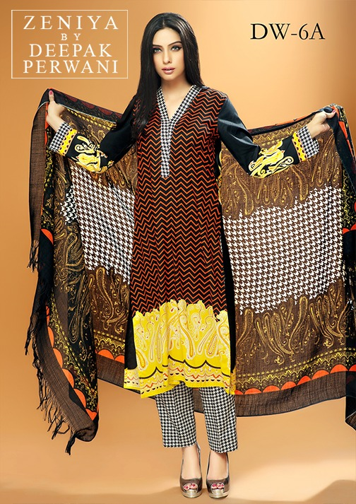 Zeniya by Deepak Perwani Winter Shawl Dresses for Women Collection 2014-15 (11)