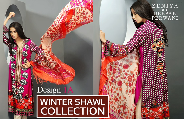 Zeniya by Deepak Perwani Winter Shawl Dresses for Women Collection 2014-15 (12)