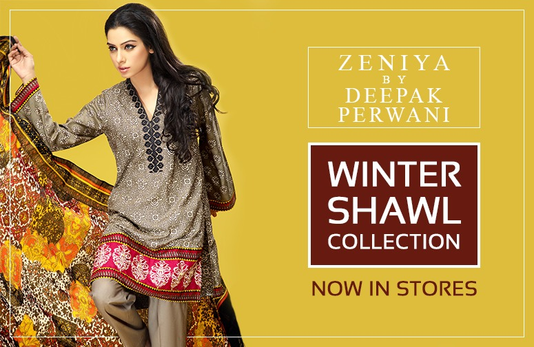 Zeniya by Deepak Perwani Winter Shawl Dresses for Women Collection 2014-15 (13)