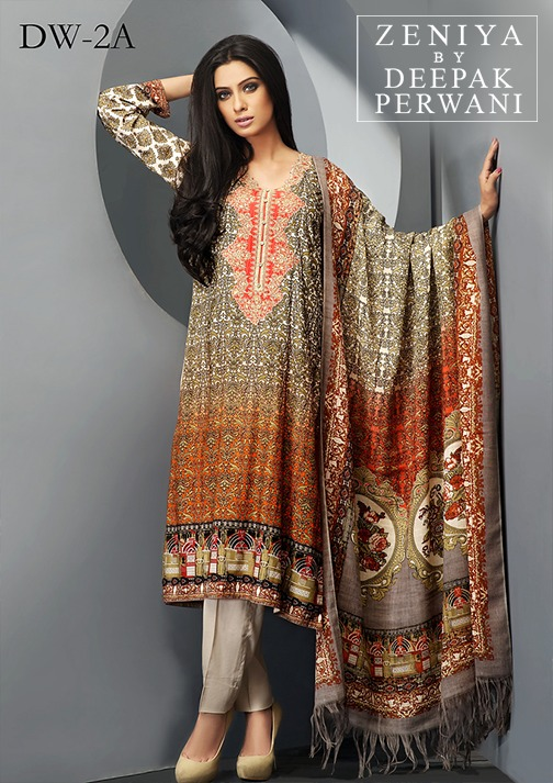 Zeniya by Deepak Perwani Winter Shawl Dresses for Women Collection 2014-15 (14)