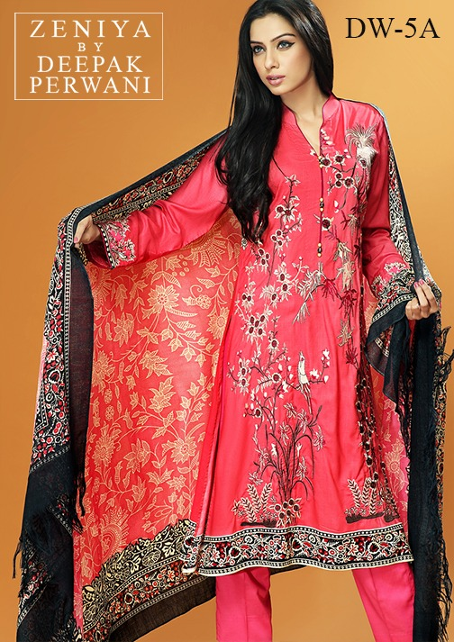 Zeniya by Deepak Perwani Winter Shawl Dresses for Women Collection 2014-15 (16)