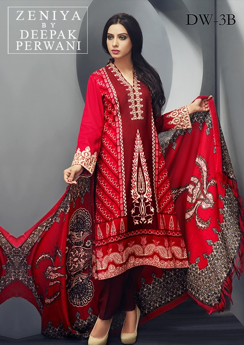 Zeniya by Deepak Perwani Winter Shawl Dresses for Women Collection 2014-15 (17)