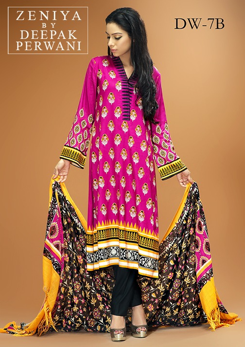 Zeniya by Deepak Perwani Winter Shawl Dresses for Women Collection 2014-15 (19)