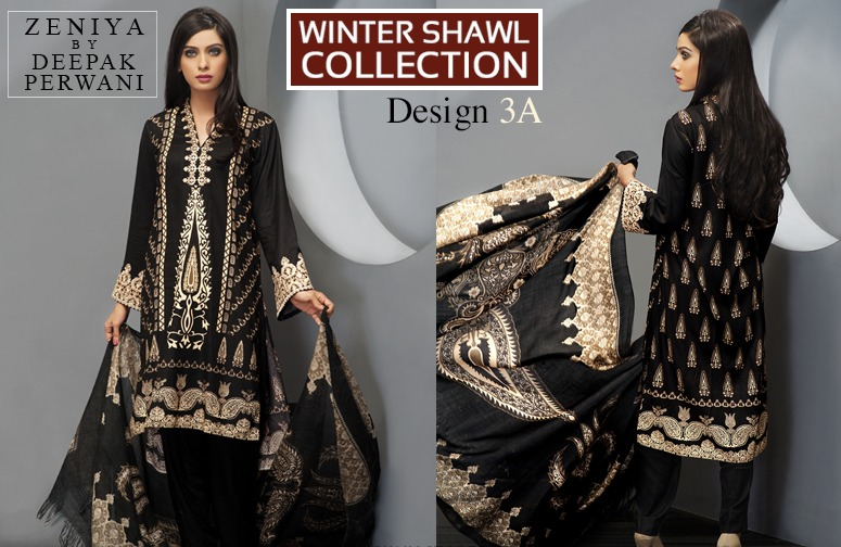 Zeniya by Deepak Perwani Winter Shawl Dresses for Women Collection 2014-15 (20)