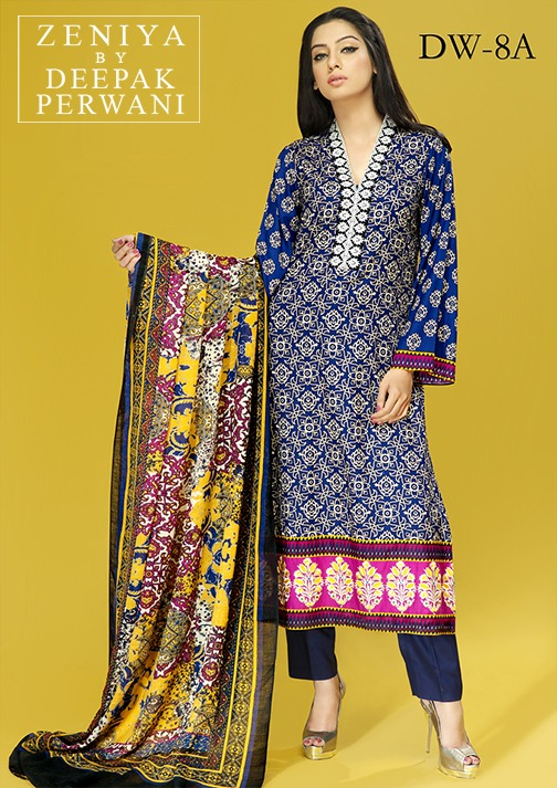 Zeniya by Deepak Perwani Winter Shawl Dresses for Women Collection 2014-15 (2)