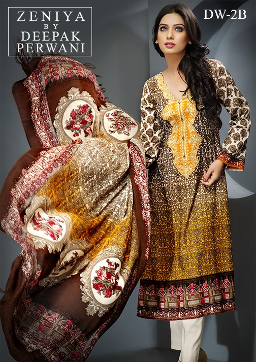 Zeniya by Deepak Perwani Winter Shawl Dresses for Women Collection 2014-15 (22)