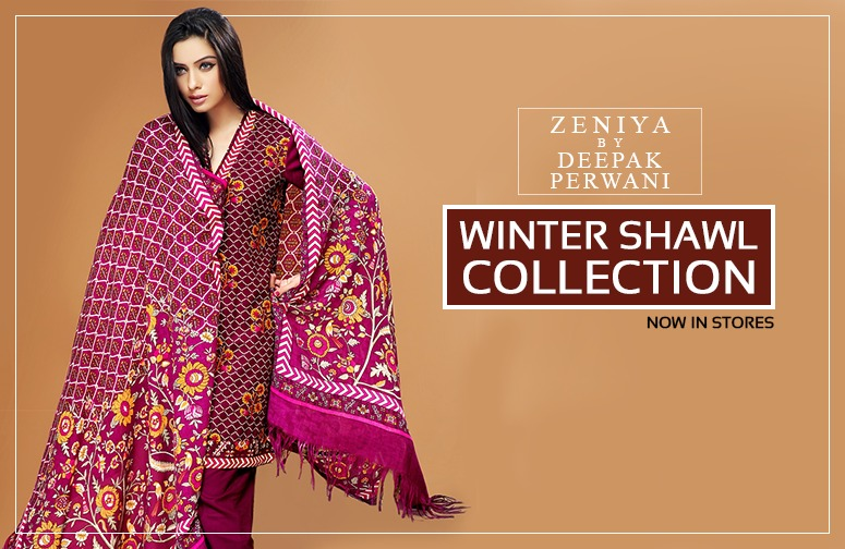 Zeniya by Deepak Perwani Winter Shawl Dresses for Women Collection 2014-15 (23)